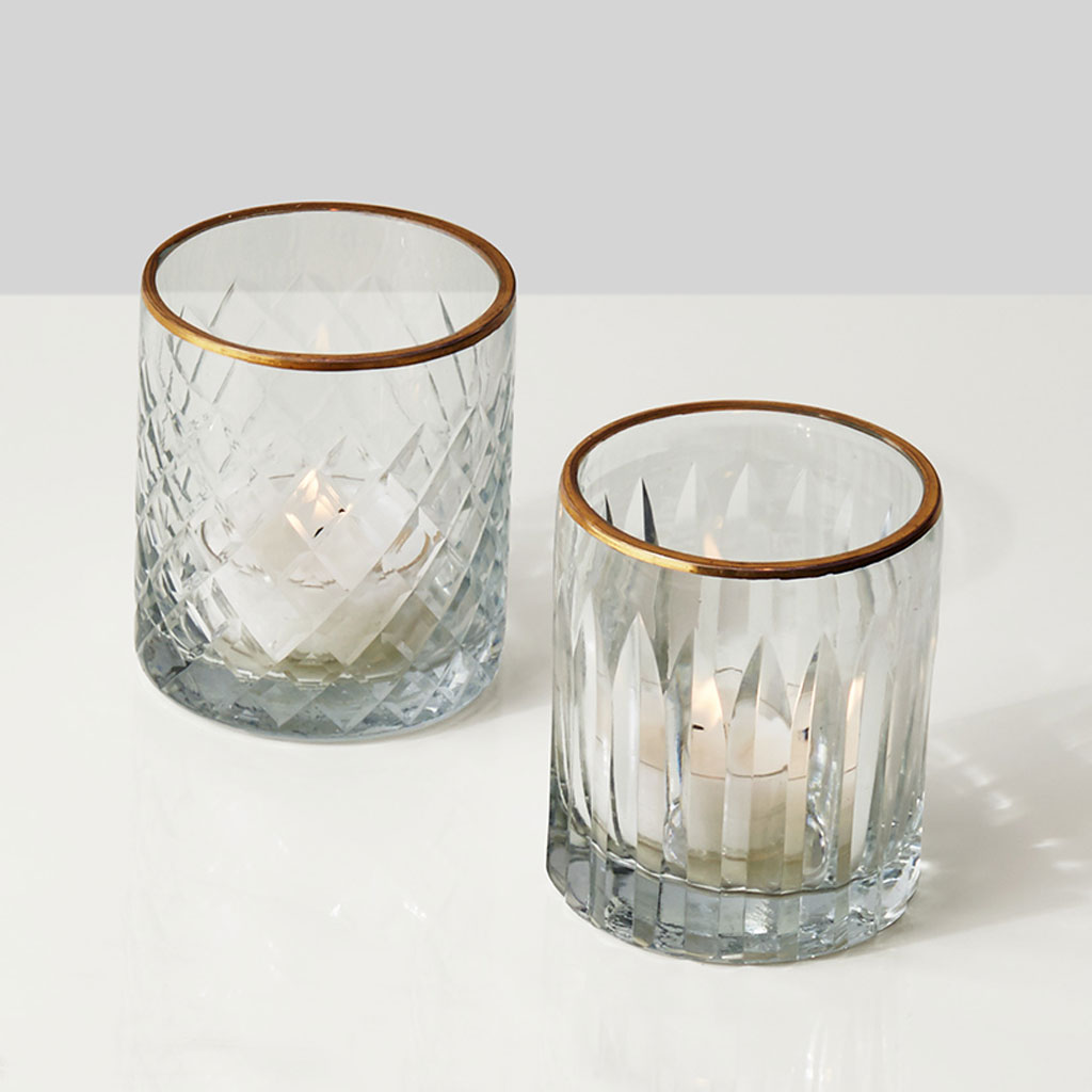 Etched Glass Votive Holders With Gold Rims Set Of 4 The Event Rental Co